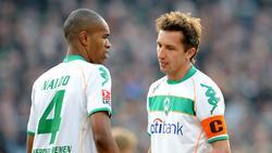 Gemeinsam im Jahr 2008 für Bremen aktiv: Naldo (l.) und der heutige Manager Frank Baumann