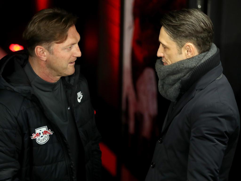 RB-Coach Ralph Hasenhüttl (li.) und SGE-Coach Niko Kovac diskutierten vor dem Spiel