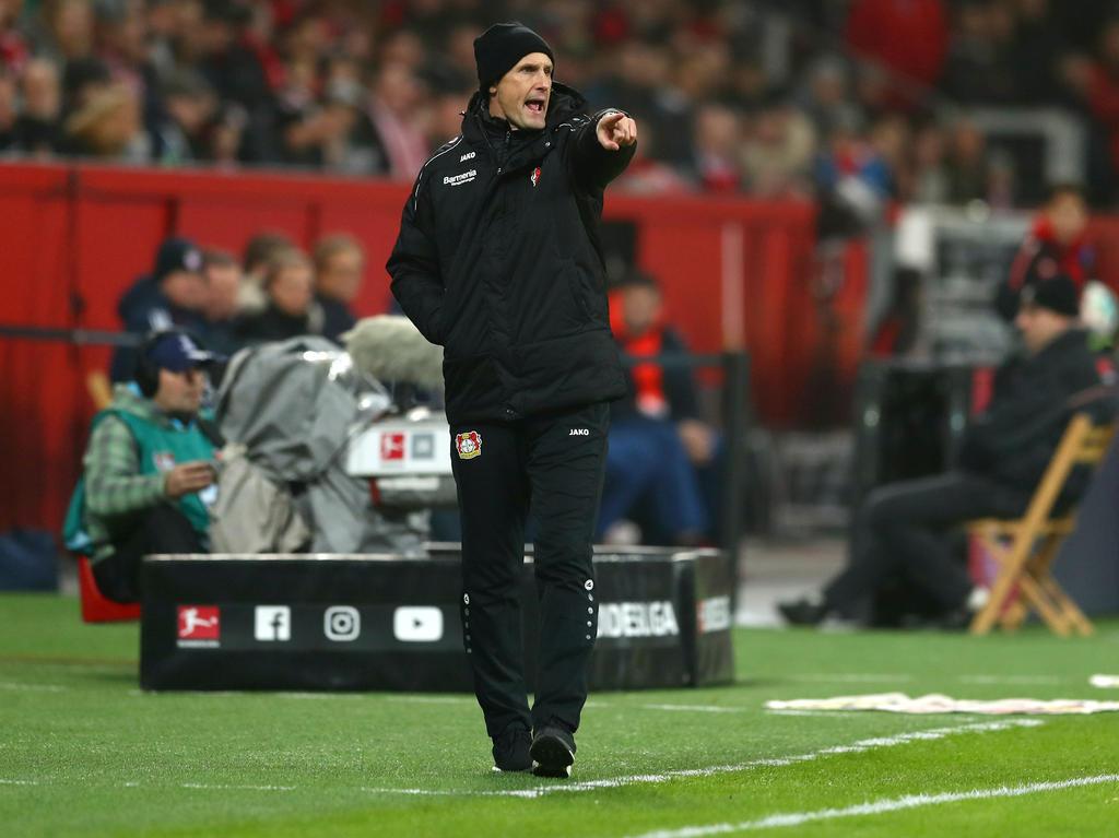 Leverkusens Trainer Heiko Herrlich will am Sonntag den nächsten Dreier einfahren