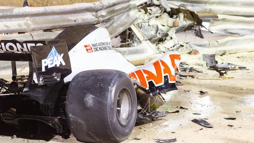 Der Haas von Romain Grosjean wurde völlig zerstört