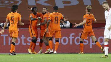 Die Niederländer bejubeln das entscheidende Tor durch Steven Bergwijn