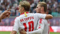 Emil Forsberg (li,) und Timo Werner führten RB Leipzig gegen Hannover zum Sieg