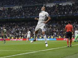 Lucas Vázquez kan juichen tijdens het Champions League-duel Real Madrid - Legia Warschau (18-10-2016).