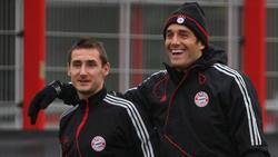 Miroslav Klose (l.) und Luca Toni (r.) spielten gemeinsam beim FC Bayern