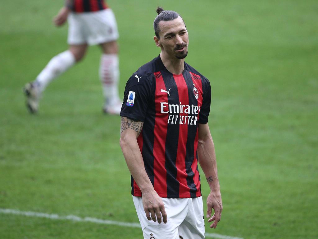 Zlatan en un encuentro de esta camapaña con el Milan.