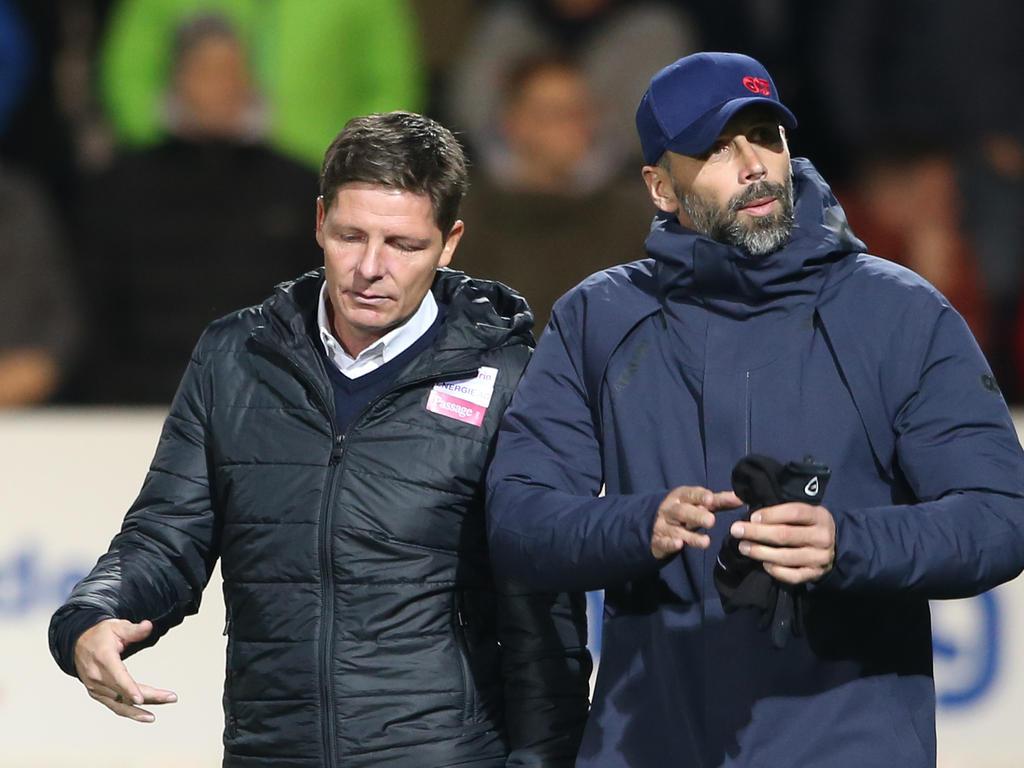 Oliver Glasner (l.) und Marco Rose sollen beim VfL Wolfsburg am Zettel stehen