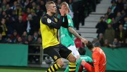 Die Dortmunder um Erling Haaland (l.) schieden in Bremen aus