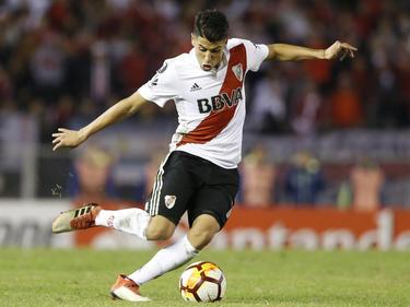 Exequiel Palacios en un duelo de la Libertadores ante Flamengo. (Foto: Getty)