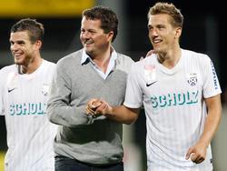 Thomas Zündel, Grödig-Manager Christian Haas und Mario Leitgeb in unbeschwerten Zeiten des Aufstiegs