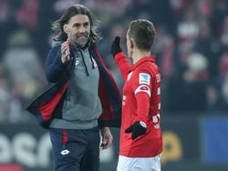 Nimmt den Abstiegskampf an: FSV-Coach Martin Schmidt (l.)