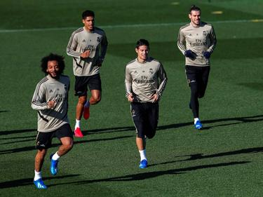 Marcelo, Varane, James y Bale en un entrenamiento reciente.