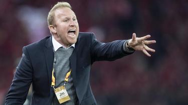 Zürichs Trainer Ludovic Magnin gibt Anweisungen während des Spiels