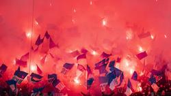 Die Fans des 1. FC Magdeburg machten mit Pyrotechnik auf sich aufmerksam