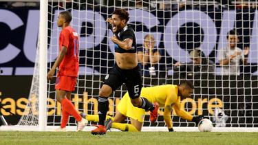 Jonathan dos Santos tras anotar el gol decisivo contra Estaods Unidos.