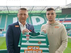 Rapid-Sportdirektor Zoran Barišić mit Neuzugang Dejan Petrovič