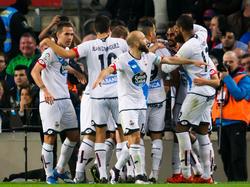 Los jugadores del Deportivo celebrando el empate de Álex poco antes del final. (Foto: Getty)