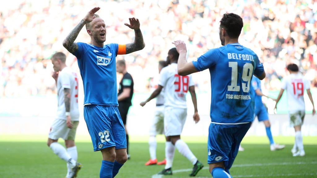 Ishak Belfodil (r.) traf gegen den FC Augsburg dreifach