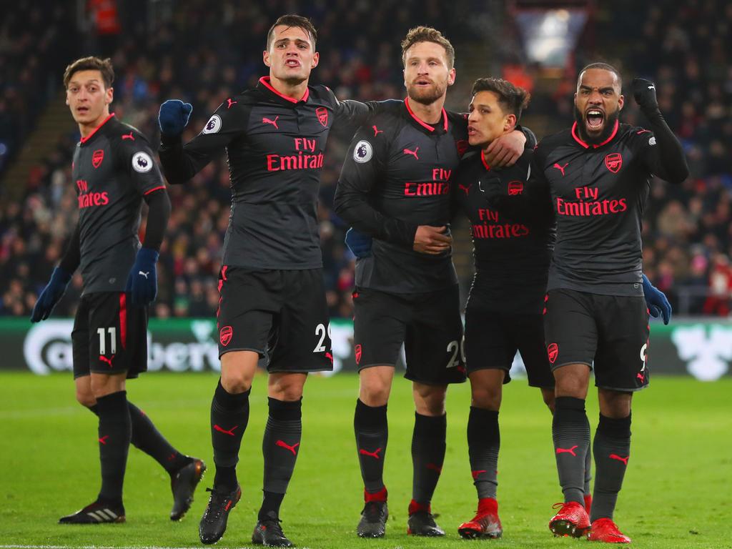 Die Gunners bejubeln ihren Sieg im Londoner Duell gegen Crystal Palace