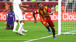 Hamdou Elhouni of Esperance Sportive de Tunis celebrates after he scores his third and his sides fifth goal during the FIFA Club World Cup 2019 5th place match between Al-Saad Sports Club and Esperance Sportive de Tunis at Khalifa International Stadium on December 17, 2019 in Doha, Qatar.