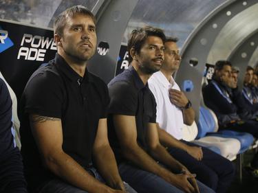 Banco de Rosario con el técnico Coudet en el primer término. (Foto: Imago)