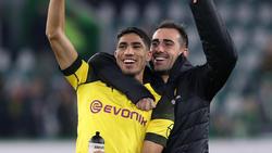 BVB-Duo Achraf Hakimi (l.) und Paco Alcácer spricht über mögliche gemeinsame Zeit bei Real Madrid