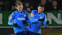 Julian Brandt (l.) und Kai Havertz sollen bei Bayer bleiben