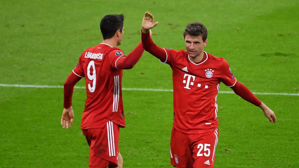 Robert Lewandowski und Thomas Müller spielen zusammen beim FC Bayern