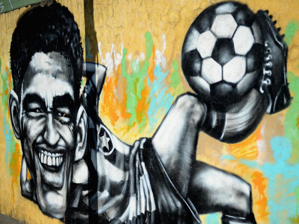 Ein Garrincha-Graffiti in Rio de Janeiro