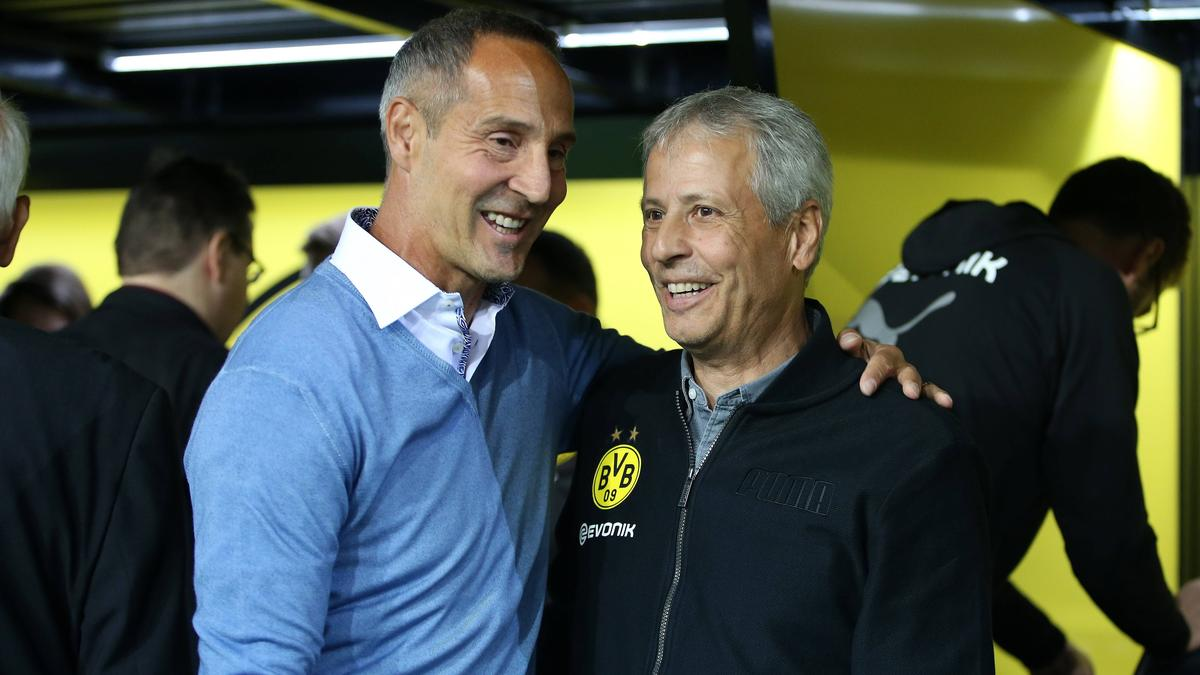 Übernimmt Ex-BVB-Coach Lucien Favre (r.) für Adi Hütter bei Eintracht Frankfurt?