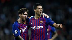 Lionel Messi (l.) traf dreifach, Luis Suárez erzielte einen Treffer