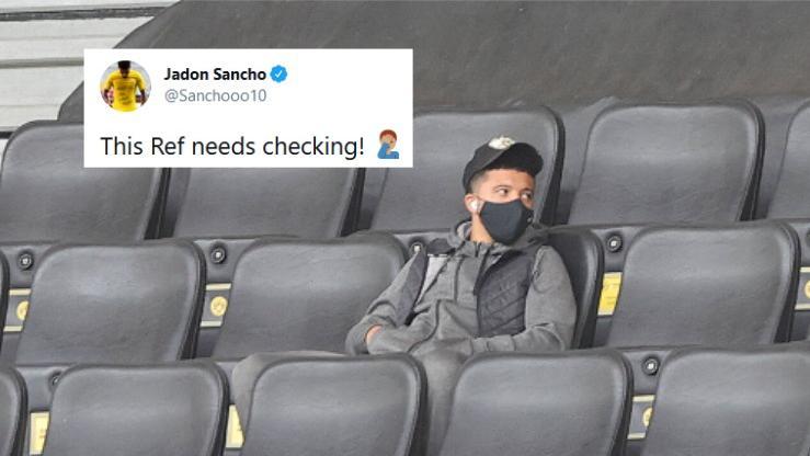 Jadon Sancho war mit der Schiedsrichter-Leistung beim BVB-Spiel in Manchester nicht zufrieden