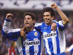 Víctor Sánchez del Amo (l.) feierte 2004 mit Valerón (r.) den Einzug ins Champions League-Halbfinale