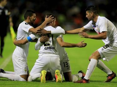 El Deportivo Táchira celebra un tanto en el partido de ida. (Foto: Imago)