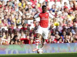 Chuba Akpom aan de bal tijdens de wedstrijd tegen AS Monaco in de Emirates Cup. (02-08-14)