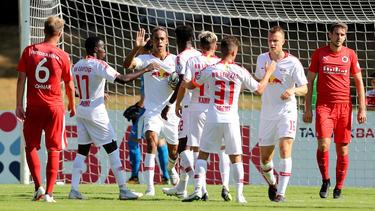 RB Leipzig jubelt nach dem Einzug in die nächste DFB-Runde