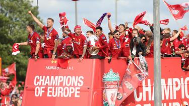 El Liverpool celebra la consecución de la Liga de Campeones.