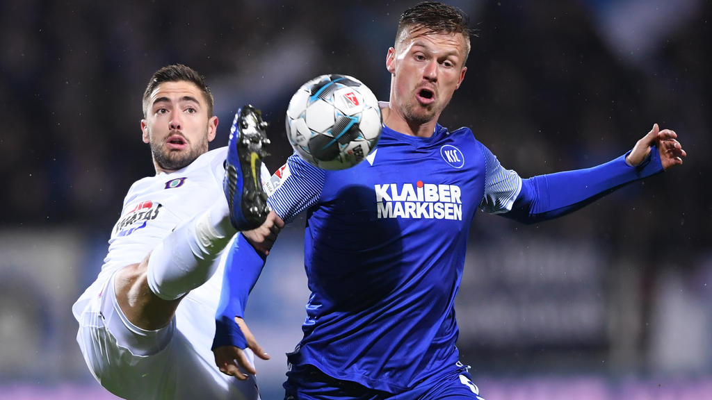 Der KSC und Erzgebirge Aue trennen sich am Montagabend 1:1-Unentschieden