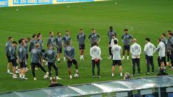 Joachim Löw inmitten der 23 DFB-Auswahlspieler