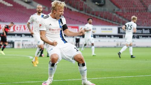 Joel Pohjanpalo bejubelt das 1:0 für den HSV