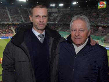Ceferin und Windtner beim Testspiel Österreich gegen Slowenien