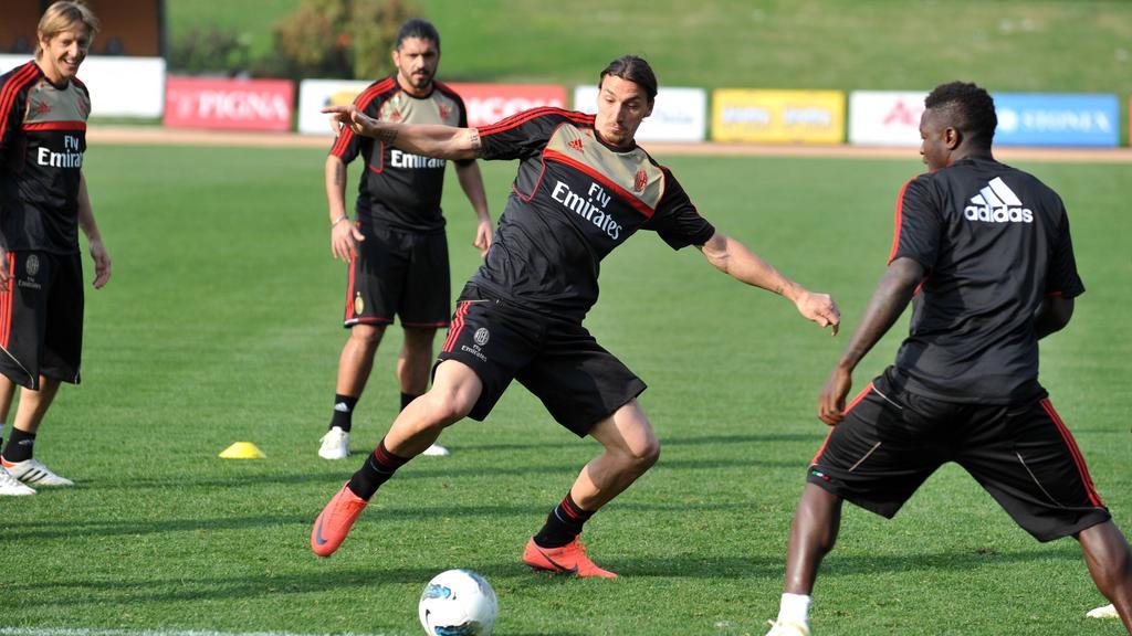 Zlatan Ibrahimovic (M.) zog sich eine Verletzung zu