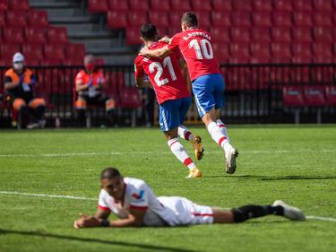Yangel anota el tanto del triunfo ante los hispalenses.