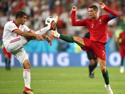 Cristiano Ronaldo (r.) erwischte gegen den Iran einen gebrauchten Tag