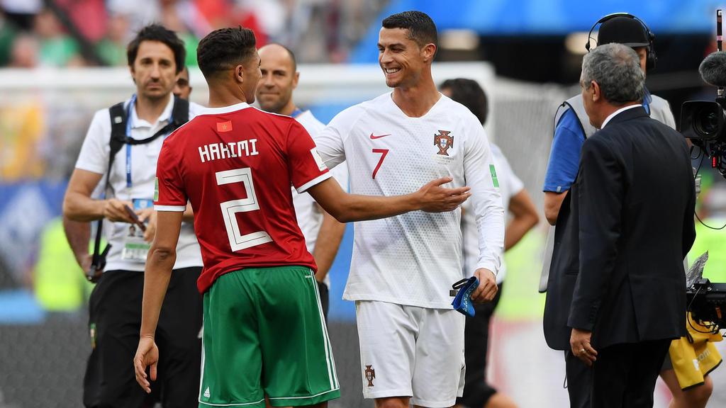 Ehemalige Teamkollegen: Achraf Hakimi (l.) und Cristiano Ronaldo