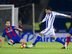Carlos Vela contra el Barcelona en LaLiga. (Foto: Getty)