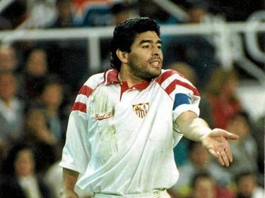 Maradona en su etapa con el Sevilla FC.