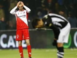 Na het laatste fluitsignaal bij Heracles Almelo - FC Utrecht baalt Danny Verbeek flink. Hij verwachtte meer dan een 1-1 gelijkspel. (21-02-2015)