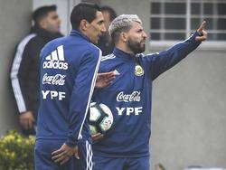 Di María y Agüero en un entrenamiento reciente.