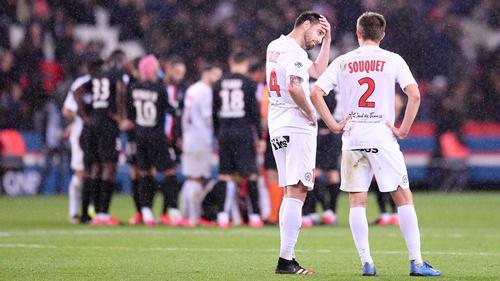 Kam mit Montpellier gegen PSG unter die Räder: BVB-Flop Damien Le Tallec (2.v.r.)