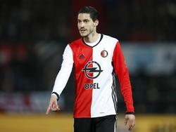 Marko Vejinović krijgt speeltijd tijdens het competitieduel Feyenoord - Go Ahead Eagles (05-04-2017).